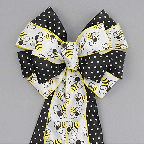 (Bumble Bee Polka Dot Spring Wreath Bow)