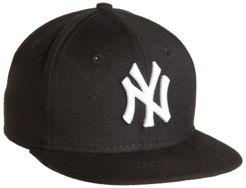 MLB New York Yankees Youth Black with White 59FIFTY Fitted Cap, 6 3/4
