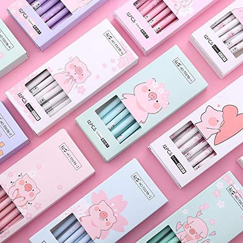 (4 Pcs/lot Cherry Blossoms Pig Gel Pen Promotional Gift Stationery School & Office Supply Random Design)