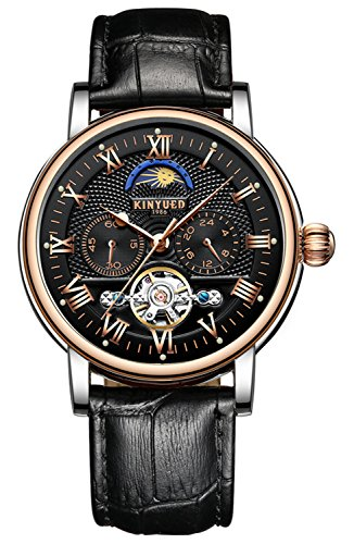 Watch Men Chronograph Tourbillon Skeleton Mechanical Multifunction Watches (Silver Gold Black) ()