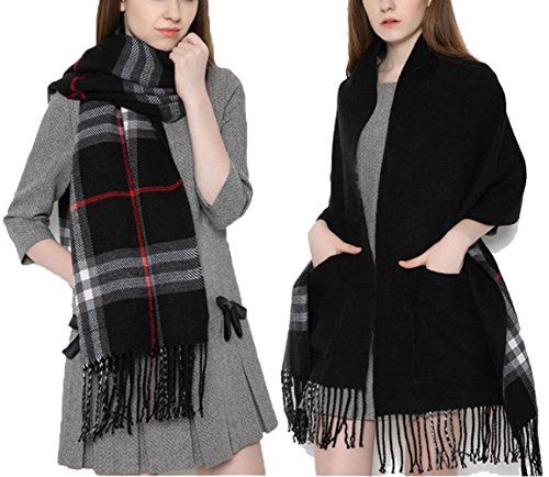 AIRCEE Autumn Winter Soft Wrap Shawl Plaid Tartan Blanket Tassel Scarf With Pockets (Black)