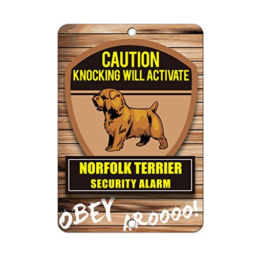 Aluminum Metal Sign Funny Knocking Will Activate Norfolk Terrier Dog Informative Novelty Wall Art Vertical 12INx18IN - Norfolk Vertical Wall