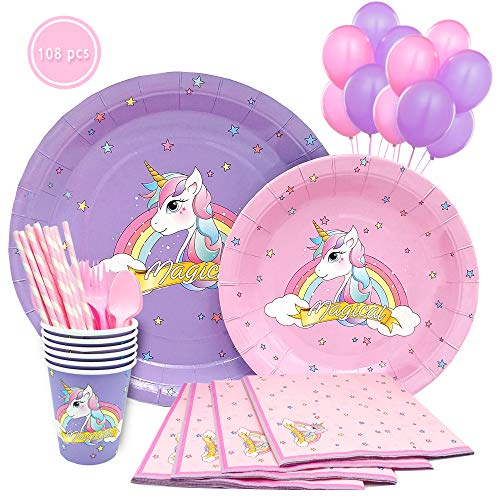 Purple Pink Unicorn Party Supplies Pack of 108 pieces - Serves 12 | Magical Rainbow Unicorn Set Complete With Adorable Design Disposable Unicorn Plates, cups, napkins for Birthday Girl & Baby Shower.]()