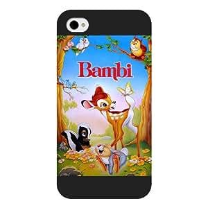Customized Black Frosted Disney Cartoon Movie Bambi iPhone 4 4s case