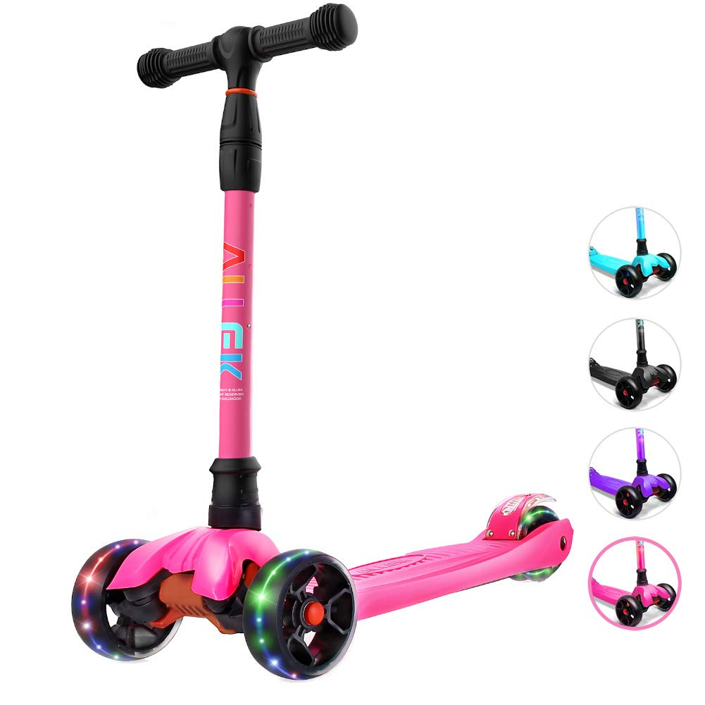 Allek Kick Scooter B02, Lean 'N Glide Scooter with Extra Wide PU Light-Up Wheels and 4 Adjustable Heights for Children from 3-14yrs (Rose Pink) by Allek