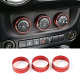 3cps Aluminum Interior Air Conditioner Conditioning Twist Switch Ring Trim for 2011 - 2016 Jeep Wrangler JK JKU Compass Patriot (Red)