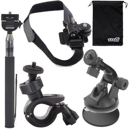 EEEKit 5in1 Bike Car Sports Mount Kit for forPolaroid XS100 i/ XS100 / XS80 Action Camera,Selfie Stick Monopod + Bike Handlebar + Helmet/Car Suction Cup Mount
