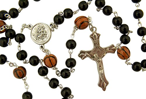 dtc My Sports Rosary Saint Christopher Acrylic Basketball Bead Rosary, 13 Inch