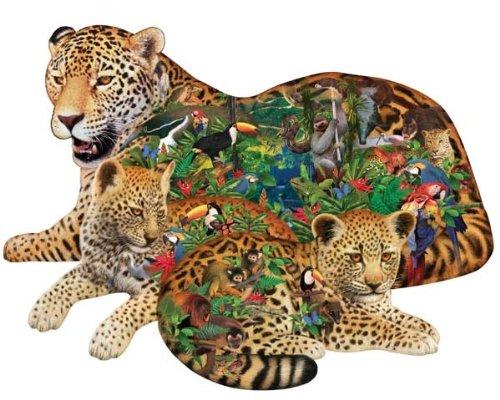 Sunsout Rainforest Jaguar Shaped Jigsaw Puzzle 1000pc