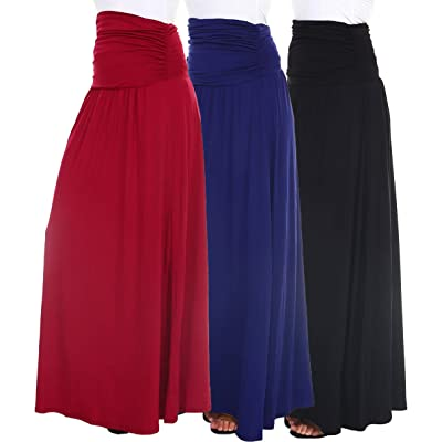 3-Pack Women's Ruched Maxi Skirt by Isaac - Made in The USA at Women's Clothing store