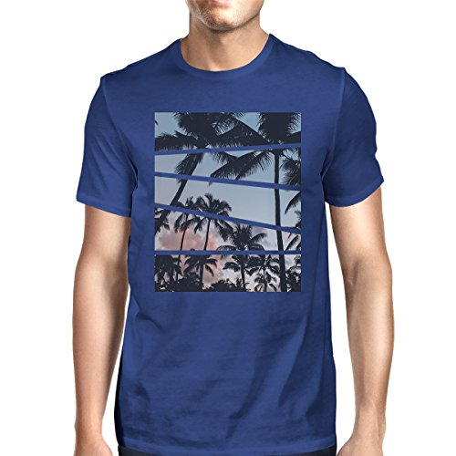 shirt Palm Mens Shirt Unique Taille Blue 365 Printing Homme Courtes T Manches Split Trees Royal fx6PPFUEwq