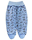 KL&M Baby Cotton Crawler Footed Pants -Africa (3-6 Months, Blue)