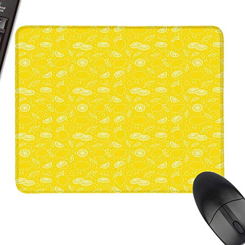 Yellow Gaming Mousepad Juicy Lemons Citrus Fresh Slices with Leaves and Dots Health Vitamins Food Pattern Natural Rubber Gaming Mouse Mat 11.8