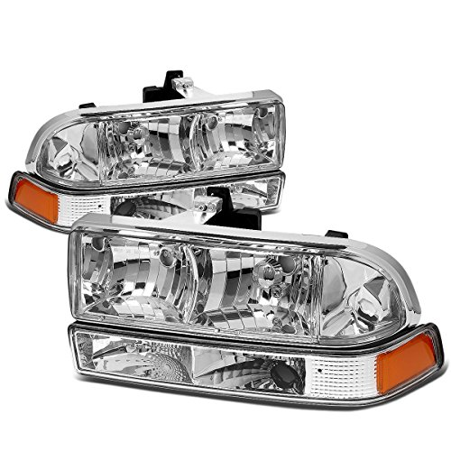 For Chevy S10/Blazer GMT 325/330 4Pcs Chrome Housing Amber Corner Headlight ()