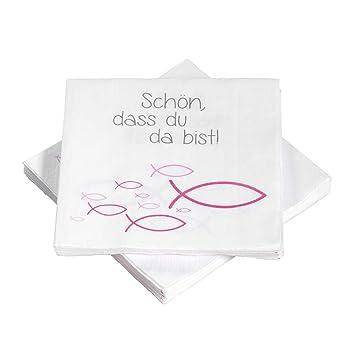 20 Servietten Fische Ichthys Schön Dass Du Da Bist 33x33 Cm Pink Für Kommunion Taufe Oder Andere Festliche Anlässe