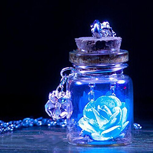 Lavany Long Chain Necklace With Glow in the Dark Flower Glass Tiny Wishing Bottle Pendant Jewelry (Blue) -