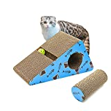 Living Express Cat Scratching Post Pad Cardboard with Catnip - Sturdy Recycled Materials Scratcher - Free Toy (Triangle)