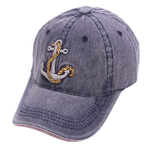 seball Cap Vintage Unisex Washed Cotton Denim Dad Hat Sailor ()