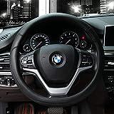 Valleycomfy Microfiber Leather Steering Wheel Covers Universal 15 inch (Black)
