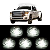 CCIYU 5x Smoke Cab Roof Running Light Marker Lens +5×168 Led Light 6-5730SMD HID White Fits 1999-2016 Ford E150 E250 E350 E350 Super Duty E450 Super Duty F250 F350 F450 F550 Super Duty F150