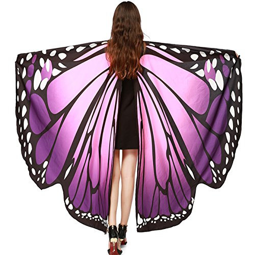 Luckcome Butterfly Flowy Wings Shawl, Halloween/Party Prop Soft Fabric Costume Accessory for Women Adult (Pink&Purple)