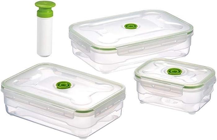 CZDZSWWW 3PCS De Vacío De Plástico De Almacenamiento De Alimentos Sistema De La Caja Del Congelador De Refrigerador De Alimentos For Microondas Cajas De Almacenamiento Caja Fresca De Cocina Contenedor: Amazon.es: Hogar