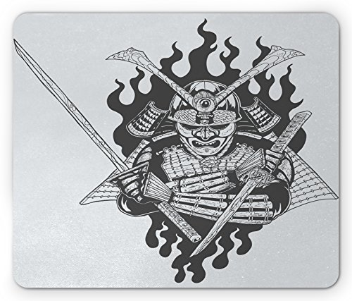 Spiritual Fighter (Japanese Mouse Pad by Lunarable, Fearsome Ghost Ninjain FireOriental Mythology Spiritual Eastern Fighter Print, Standard Size Rectangle Non-Slip Rubber Mousepad, Black White)