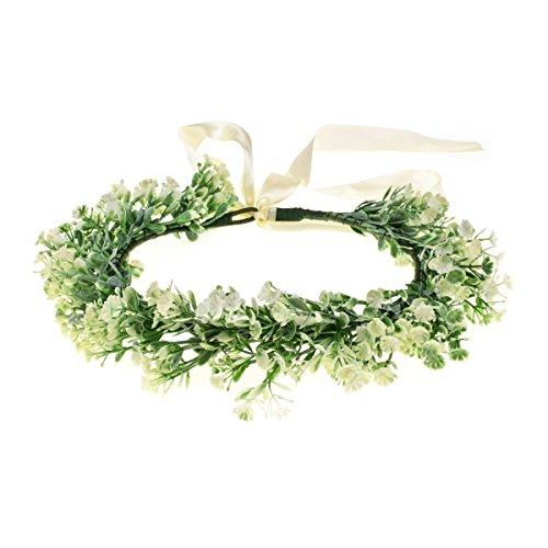 Floral Fall Artificial Baby Breath Flower Halo Wedding Crown Lilac Bridal Headpiece Greenery Crown HC-24 (z-Ivory)