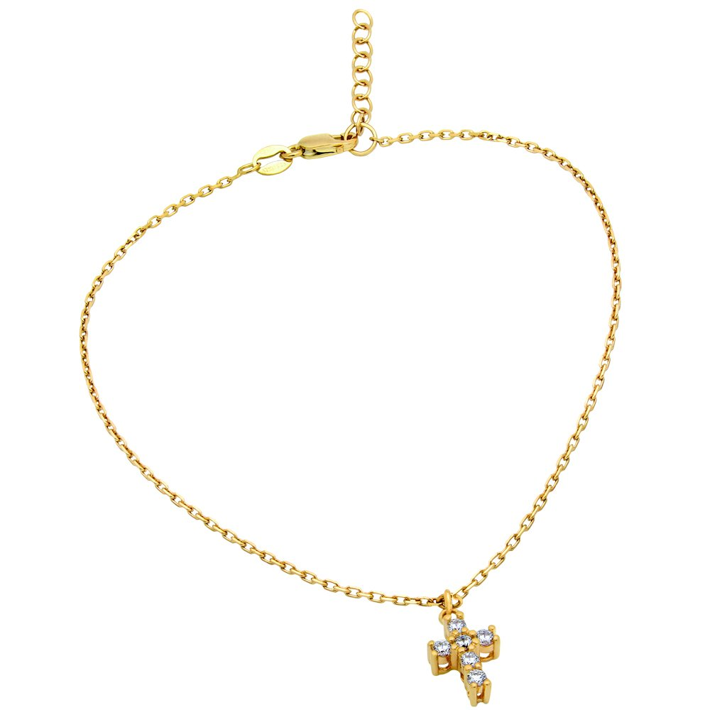 Cubic Zirconia Small Cross Anklet Yellow Gold-Tone Plated 925 Sterling Silver 9'' + 1''