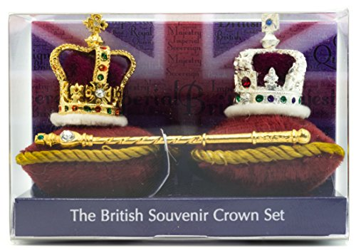 King Crown In Purple (British Crown Jewels Souvenir Set 3 Piece Miniature Crown Set in Acetate Box, Hand Made in UK by Crowns&Regalia, Hand Enamelled)