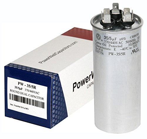 PowerWell 35 + 5 MFD uf PW-35/5/R 370 Or 440 Volt Dual Run Round Capacitor for Condenser Straight Cool Or Heat Pump Air Conditioner 35/5 Micro Farad (Capacitor 440v)
