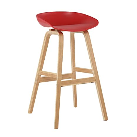 Remarkable Amazon Com Solid Wood Bar Stools With Plastic Seat Modern Machost Co Dining Chair Design Ideas Machostcouk