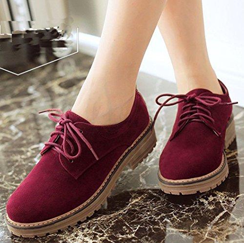 IDIFU Women's Classic Low Chunky Heel Platform Low Top Lace up Oxfords Shoes Wine Red 6 B(M) US by IDIFU (Image #2)