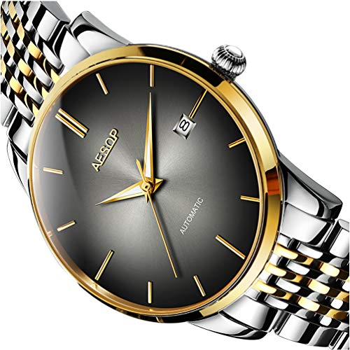 Mens Luxury Black Faced Watches for Business, Automatic Silver Mechanical Stainless Steel Band Wrist Watches and Date Waterproof Watch, Classic Father Husband Christmas Gift New Watches on Sale