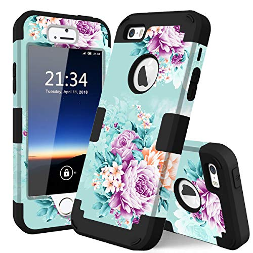 iPhone 5s Case,iPhone SE case,iPhone 5 case,PIXIU Unique Hybrid Dual Layer [Hard PC+ Soft Silicone] Impact Full-Body Shockproof Protective Case for Apple iPhone 5s/5/SE Peonies