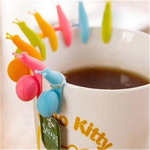 Mini-Teebeutelhalter aus Silikon 5 St/ück zum Aufh/ängen an der Tasse Schnecken