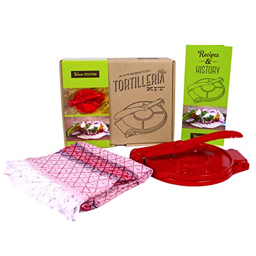 "Verve Culture Artisan Tortilleria Kit - 8"" Cast Iron Tortilla Press"