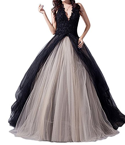 Amore Bridal Luxury Womens Halter Ball Gown Wedding Bridal Dress Princess Long Black, 6 (Black Wedding Dress)