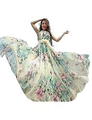 Medeshe Women's Summer Floral Long Beach Maxi Dress Lightweight Sundress (Length: 130cm)