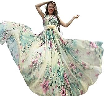 Medeshe Women's Summer Floral Long Beach Maxi Dress Lightweight Sundress (Length-115cm)