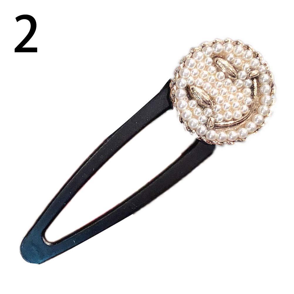 Lx10tqy Fashion Square Smiley Face Faux Pearl Hair Clip Hairpin Barrette Women Headdress 2