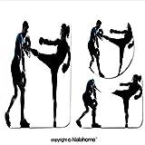 3 Piece Bath Rug Set Nalahome design-142031812 two caucasian men exercising thai b Bathroom Rug(15.7''x23.62'')/large Contour Mat(15.7''x15.7'')/Lid Cover(15.7''x16.9'')For Bathroom(orange)