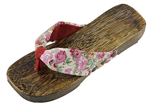 Tre Sommer Tøfler Casual Rosa Floral Bunnen Kvinner Fakeface Japanese Sandaler Tresko flop Sko Geta Anti Eva Thong Flip slip FWfSw0