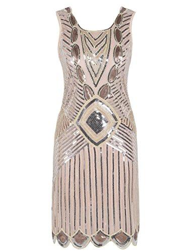 Scalloped Sequin (PrettyGuide Women 1920s Gatsby Sequin Art Deco Scalloped Hem Inspired Flapper Dress Champagne Pink L)