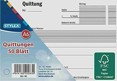 10 Quittungsblöcke Zweckform 300 je 50 Blatt Beleg fälschungssicher MwSt DIN A6