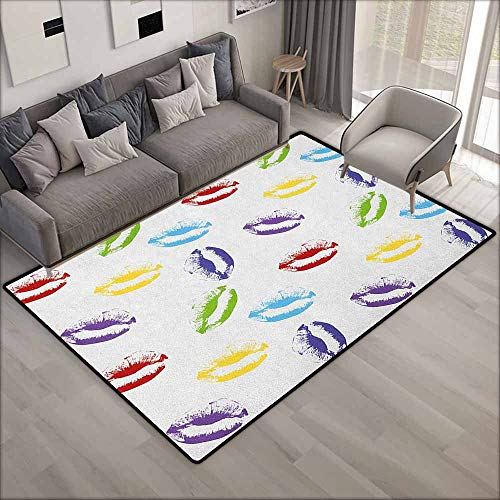Skid-Resistant Rug,Colorful Make Up Cosmetics Theme Lipstick Colored Lips Kisses Sexy Seductive Feminine Art,Ideal Gift for Children,6'6