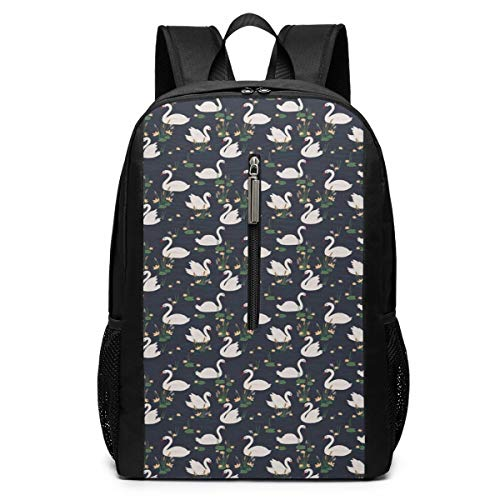 Beach Surfers Swan Pond Lilies Cattails Blue Lake Girls Boys School Backpack Big Capacity Bag Travel Daypack for Teen Kids Mens Womens