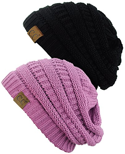Cable Knit Beanie Womens - C.C Trendy Warm Chunky Soft Stretch Cable Knit Beanie Skully, 2 Pack Black/New Lavender