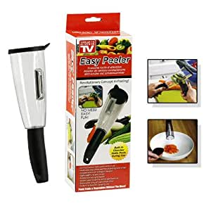 Easy Peeler - Built-In Chamber to Hold Peels For No Mess Preparation - As Seen on TV