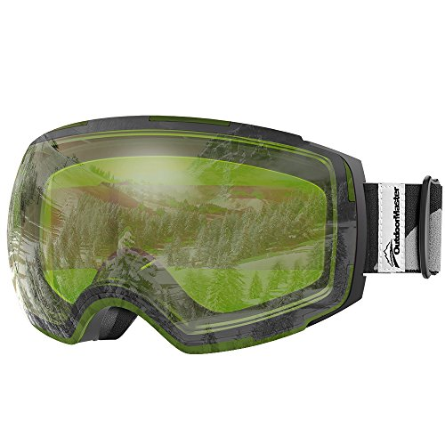 OutdoorMaster Ski Goggles PRO - Frameless, Interchangeable Lens 100% UV400 Protection Snow Goggles for Men & Women ( Black Frame VLT 80% Green Lens and Free Protective Case - Clear Lenses Polarized